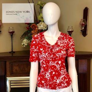 EUC- Jones New York - petite red/white blouse - PM